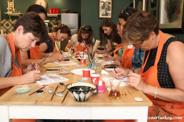 Classical Ottoman Tile and Ceramic Painting Classes with our students in our workshop located in Sultanahmet - August 2016 http://www.bazaarturkey.com/tours/turkish_tiles_workshop.html