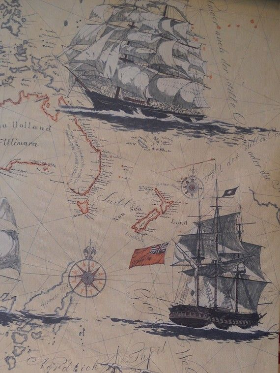 Vintage- 1980's Nautical Map Wallpaper. I would use this to decoupage a trunk, but it looks sold out :(.