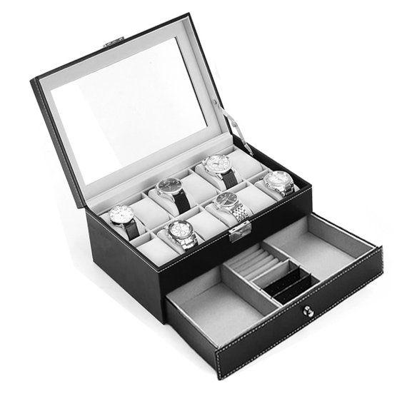 Leather watch box black/brown display case Storage Australia