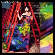 Gedrukt zijden chiffon 140 cm breed 8momme100% zijde chiffon stof mode stof voor feestjurk sjaal materiaal over the rainbow(China (Mainland))