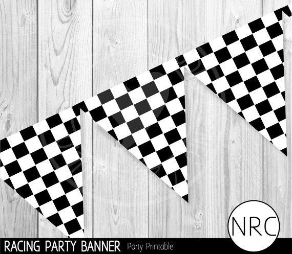 Car Party Car Party Printable Checkered Flag Racing