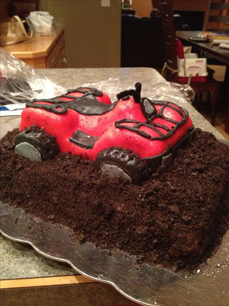 Four wheeler cake for my two year old! Boy birthday cake