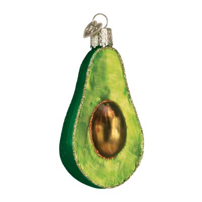 """Avocado+Christmas+Ornament+28059+Merck+Family's+Old+World+Christmas+Material: +mouth+blown,+hand+painted+glass+Size: +3.25""""+to+top+of+hanger+Includes+Free+Gift+Box+Hang+"""
