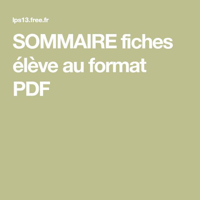 SOMMAIRE fiches élève au format PDF   Fiches, Sommaire, Élève