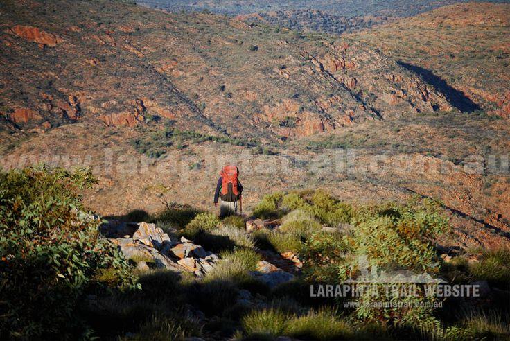 Lone hiker making his descent off Brinkley Bluff, Section 4, Larapinta Trail. © Explorers Australia Pty Ltd (www.explorersaustralia.com.au)