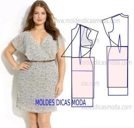 molde de vestido casual plus size