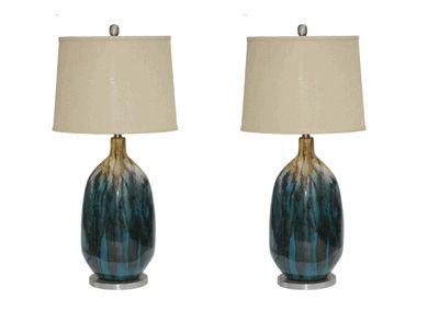 Tahoe Blue Lamps Set of 2  DesignNashville.com Transitional Lamp Collection
