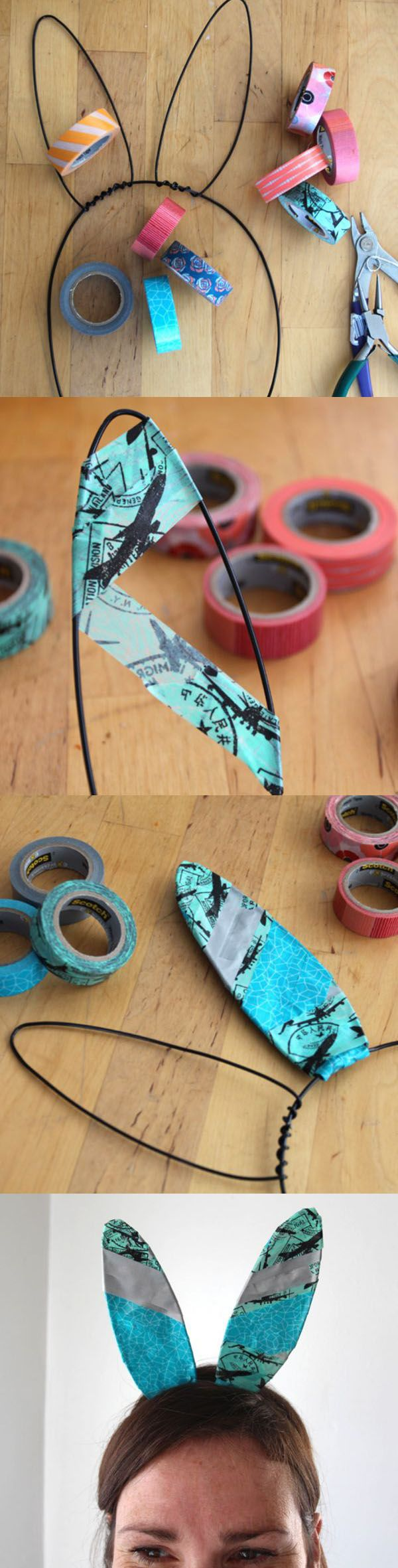 Make your own custom bunny years with some floral wire and washi tape. Super cute for family photos!