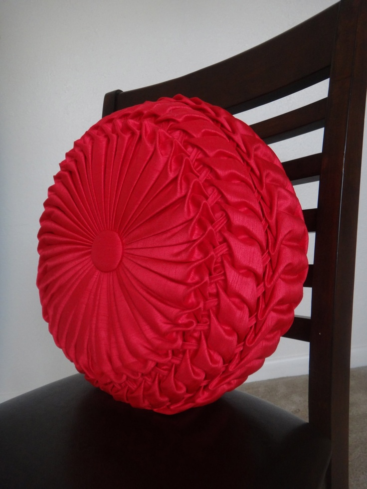 Round Red Decorative Pillows : Handmade Home Decor Smocked Red Round Pillow by MeBotique on Etsy, $40.00, capitone Home decor ...