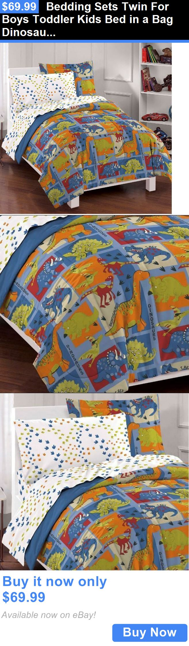 Kids at Home: Bedding Sets Twin For Boys Toddler Kids Bed In A Bag Dinosaurs Comforter Childs BUY IT NOW ONLY: $69.99