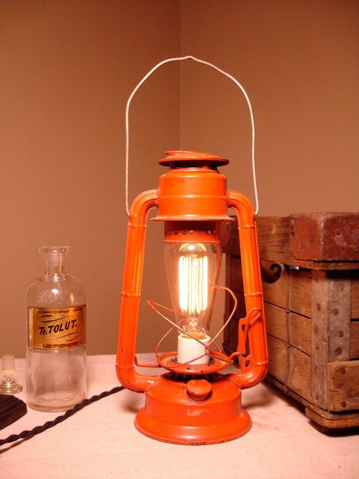 Industrial Lighting Repurposed, Upcycled & Electrified Antique Kerosene Lantern by Stonehill Design. $129.00, via Etsy.