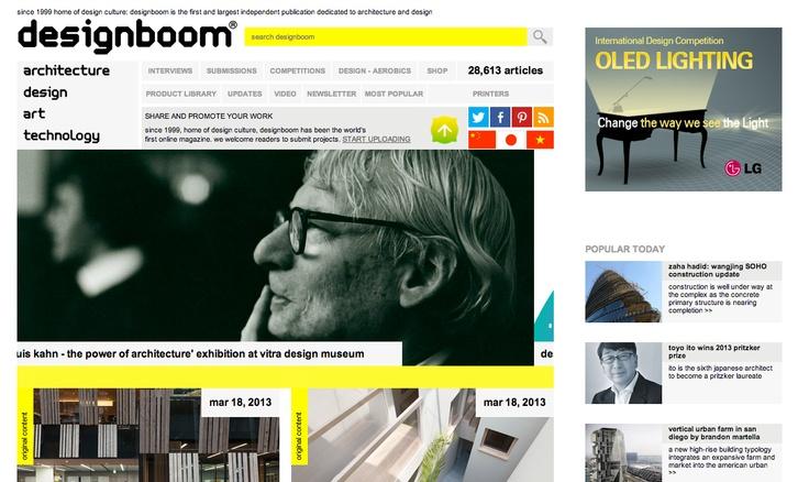 design boomサイトwww.designboom.com/  ビジュアルイメージをフラッシュで見せる/更新情報を大きく真ん中に、定例コンテンツは右よせ。by mochi