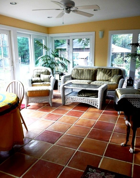 ceiling medallion paint ideas - Saltillo Mexican Terra Cotta floor tile in checkerboard