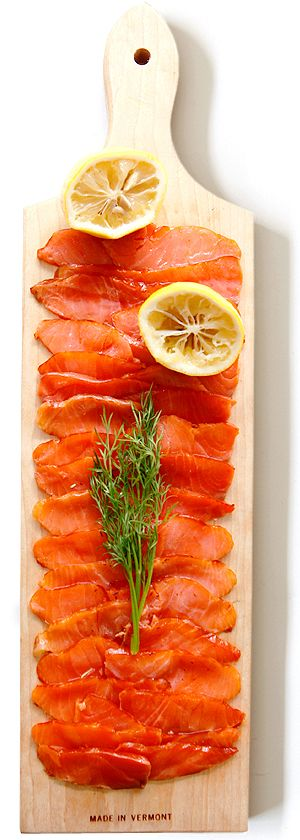 smoked salmon from Norway. i could live off of vegetables and fruit, but I'm not giving up the salmon.
