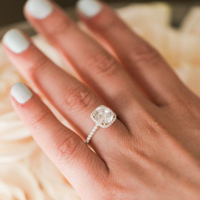 """My exact style ring! 😍 The prettiest ring 💍❤️️ """"Fresh nails and a shiny cushion halo diamond ring. // style # 17085R14 on JamesAllen.com. . . #jamesallenrings #ManiMonday #manicuremonday #DiamondRing #Dreamring #Halo #HaloRing #WhiteGold #ManicureMonday #nails #nailcolor"""""""