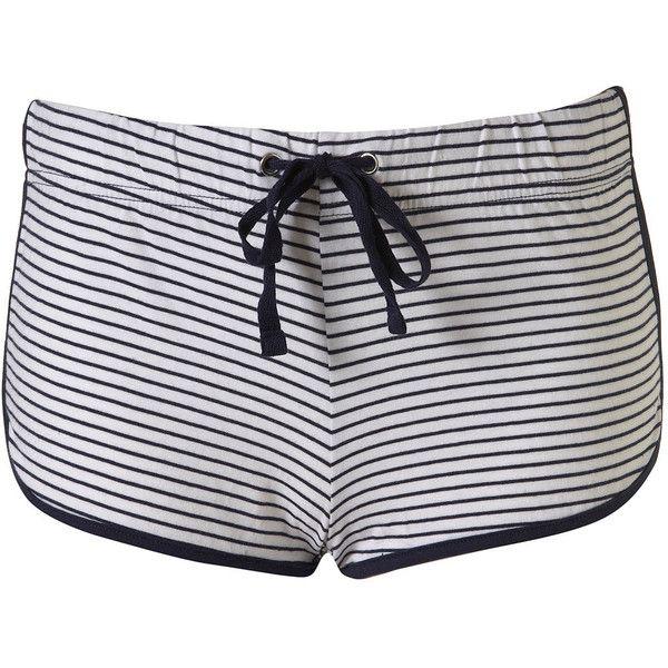 Stripe Runner Shorts ($10) ❤ liked on Polyvore featuring shorts, short, bottoms, pijama, szorty, women, stripe shorts, cotton shorts, short shorts and striped shorts