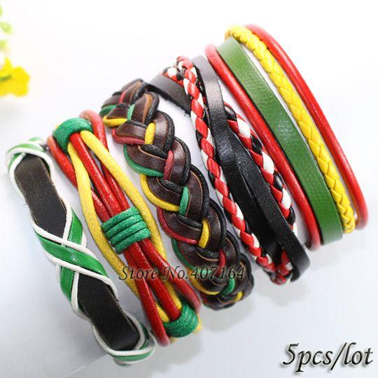 FL105-colorful handmade wrap bangles ethnic braided leather charm bracelet with hemp rope women 2017 (5pcs/lot)  free shipping