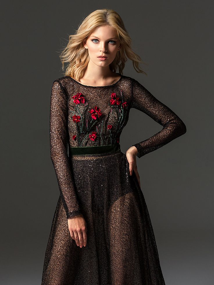 Style #354 from the Fashion Chemistry line is a long sleeve sequined evening gown features flower 3-D embroidery on the top, velvet belt, keyhole open back, and a full-length sheer skirt, available in black, beige #papilioboutique #eveningwear