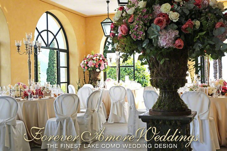 Lake Como Wedding reception Villa Balbianello. Giant medician vases #villabalbianellowedding #lakecomowedding #foreveramoreweddings