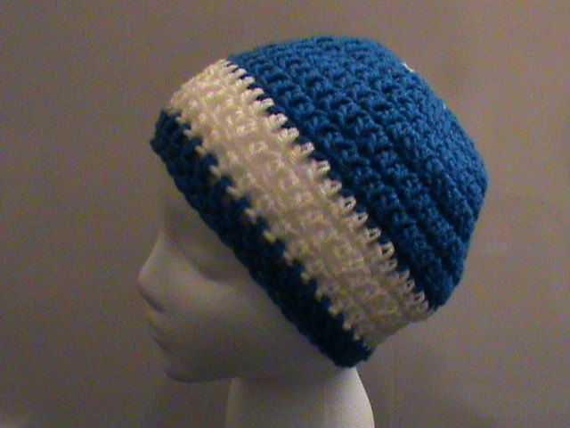 Blue and White Crochet Hat, Crochet Hats, Winter Hats, Kentucky, Indianapolis Colts, Blue and White Hat, FREE SHIPPING, Ready to Ship, #081R by NoreensCrochetShop on Etsy