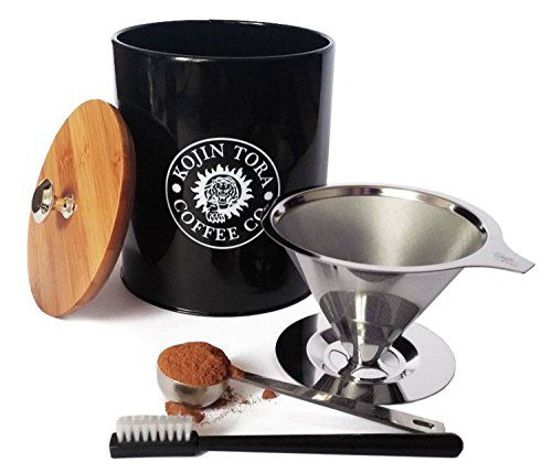 Reusable Pour Over Coffee Dripper Set Includes Paperless Filter Stainless Steel Scoop Brush  Large Canister  Brew 1 to 4 Cups ** Read more at the affiliate link Amazon.com on image.
