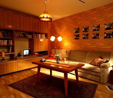 Living Room Of Former East Germany Cozy And Compact Ein Wohnzimmer Im  Typischen DDR Flair