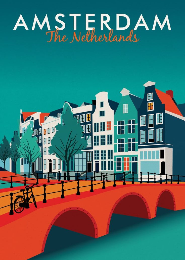 Poster di viaggio di Amsterdam, stampa, vintage, ricordo, souvenir, regalo, regalo di Natale, poster, arte, opere d'arte, arte digitale, arredamento, realizzato nel Regno Unito