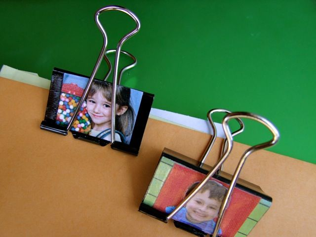 Clips with photos for hanging work