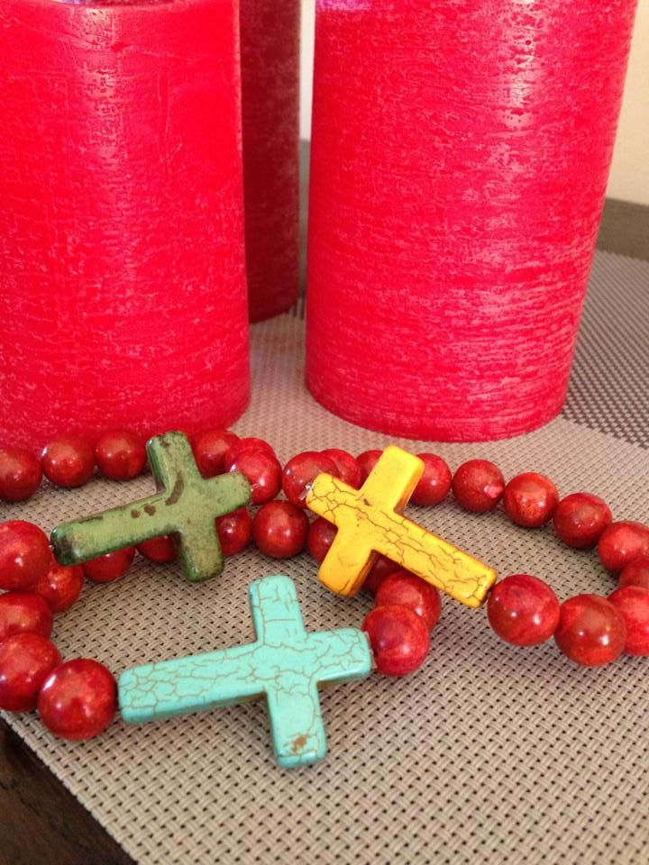 Red Coral Bracelet with Coloured Cross sent to  Queensland, Australia