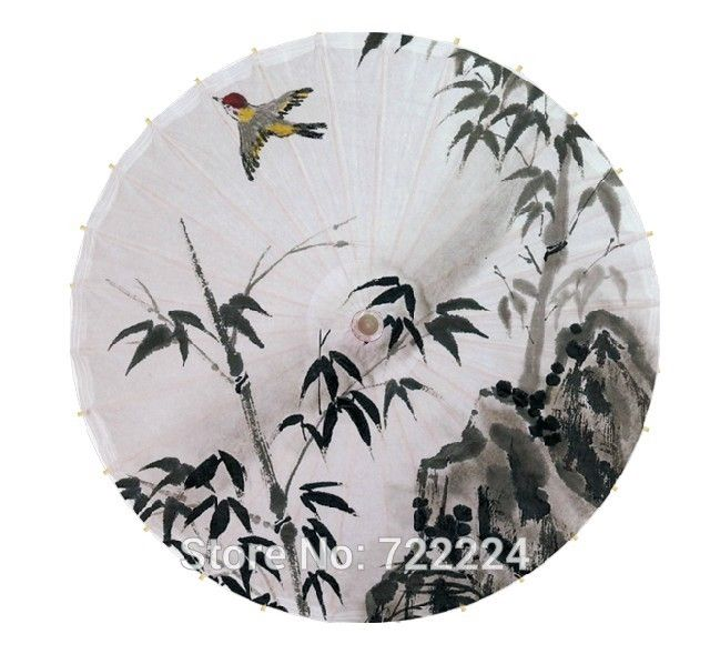 26.42$  Buy here - http://aliu62.shopchina.info/go.php?t=32704840013 - Free shipping ink painting bamboo with bird handmade unique chinese waterproof sunshade cosplay gift props oiled paper umbrella 26.42$ #buyonline
