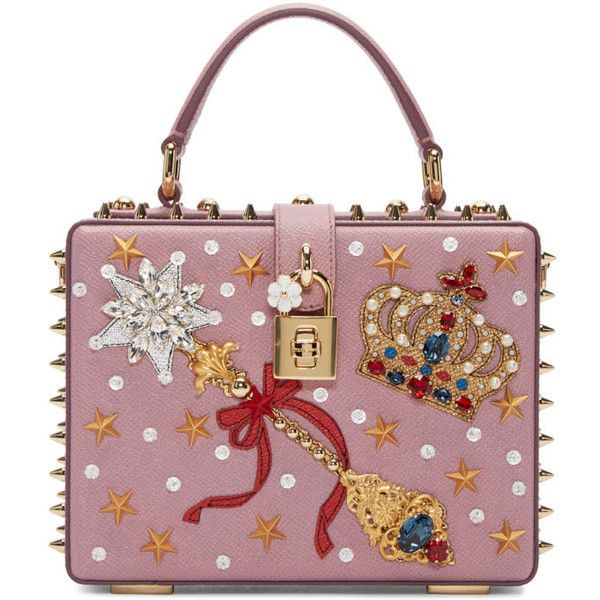 Dolce and Gabbana Pink Embellished Box Bag (55.945 ARS) ❤ liked on Polyvore featuring bags, handbags, shoulder bags, pink, pink handbags, leather flower purse, pink leather handbags, studded leather handbag and genuine leather handbags