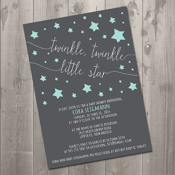 twinkle twinkle baby shower invitation diy printable invitation