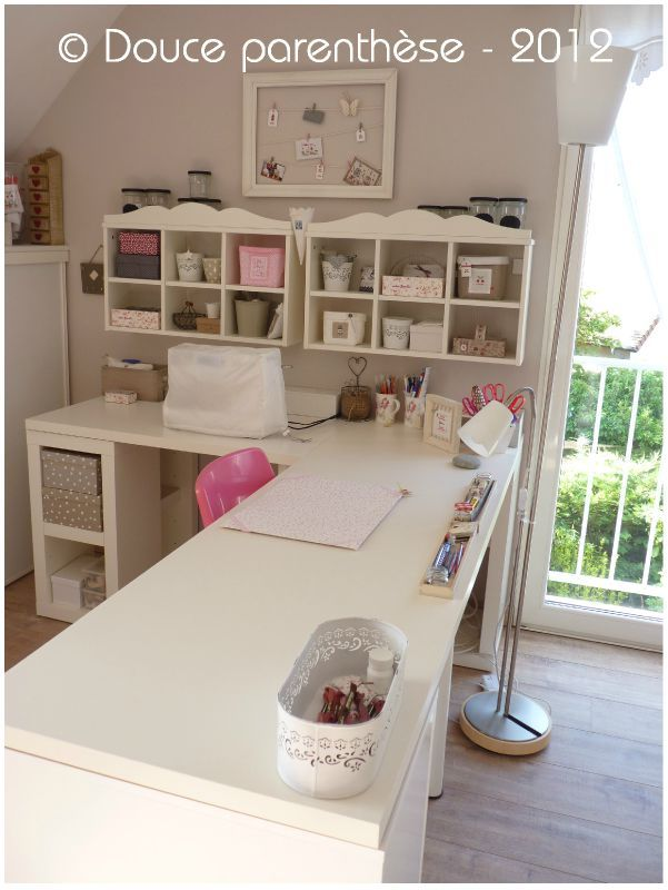Need a desk like this. One small area for computer and a bigger side for crafty stuff.