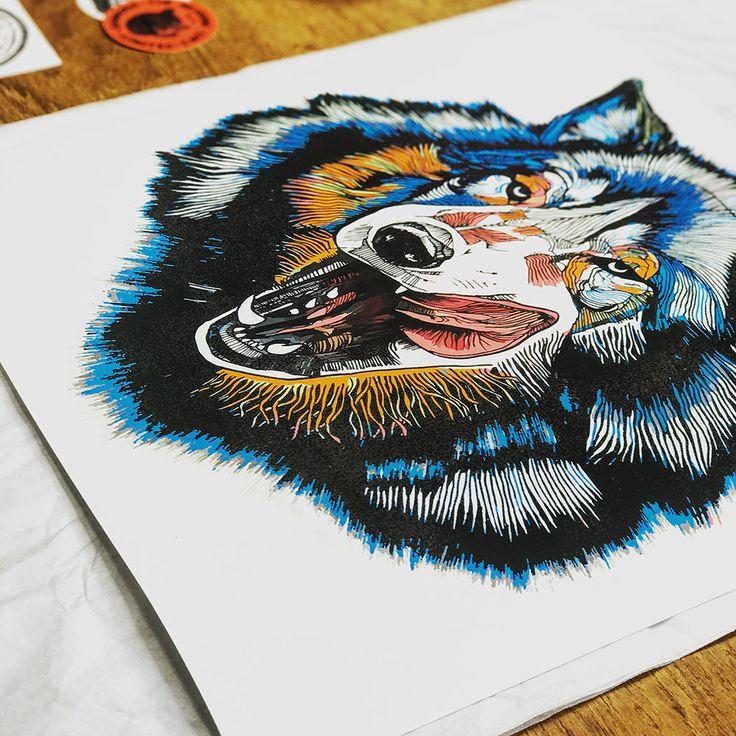 'Wolf Tounge' artwork by Luke Dixon  #wolf #lukedixon #artwork #illustration #drawing #print