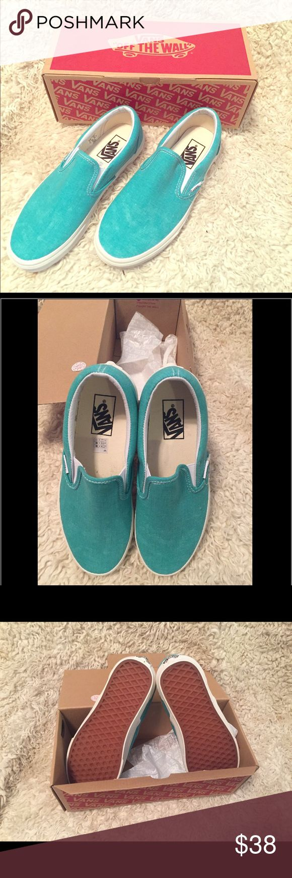 New Unisex Slip On Vans Whitewash Green I bought these for myself thinking that they were a size 6.5 ladies. I got home and realized that the sales rep gave me 6.5 mens, which is a size 8 in women's 😳 They have been sitting in my closet ever since because I am such a weirdo and dislike having to go back to a store to make a return. That is the exact reason why my house is filled with so many shoes & clothes. And I do have a shopping addiction...but I am working through that as we…