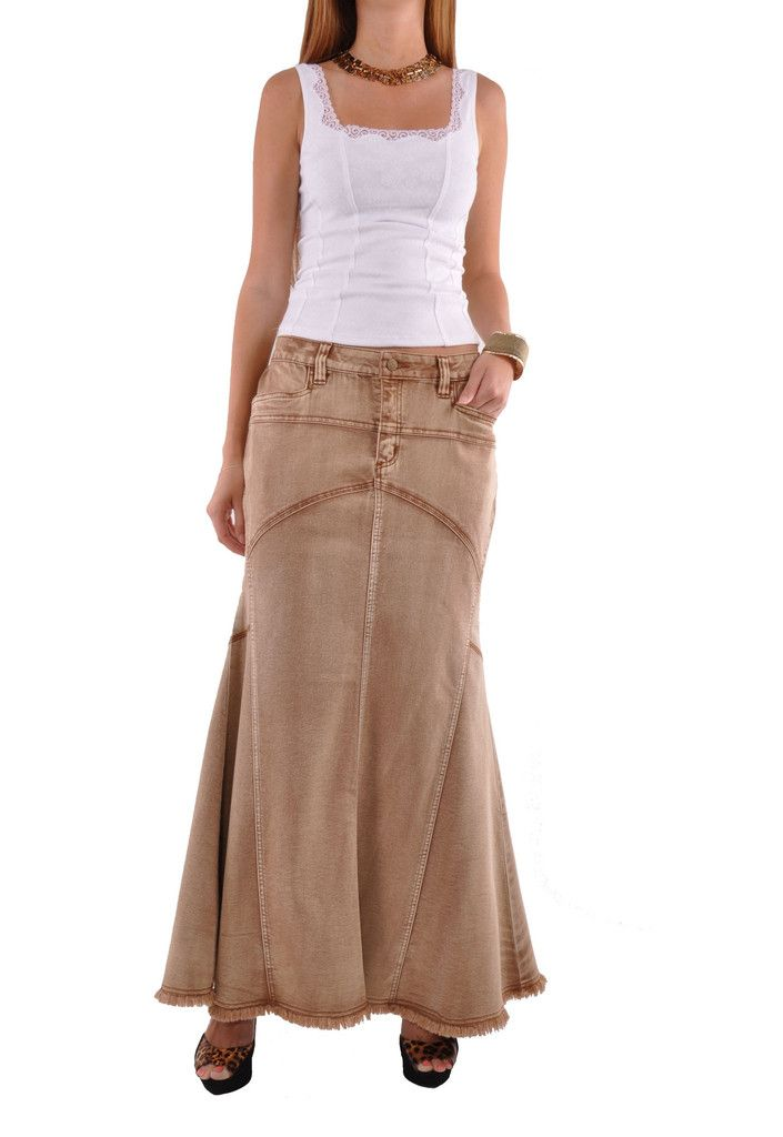 """* floor length 38"""" * low-rise fit * stretch brushed brown denim * two front pockets & curvy mermaid style long skirt * 80% cotton, 17% polyester, 3% spandex * Get ready to glam it up in this flirtatio"""