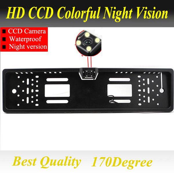 Pour SONY CCD HD vue arrière de voiture caméra de recul inverse Universal caméra Européenne Cadre de Plaque D'immatriculation de vision nocturne avec LED caméra