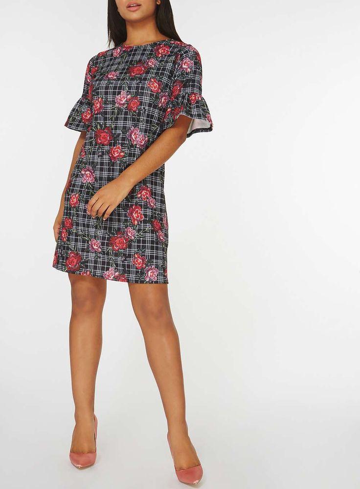 Womens Black Floral and Check Print Shift Dress- Grey
