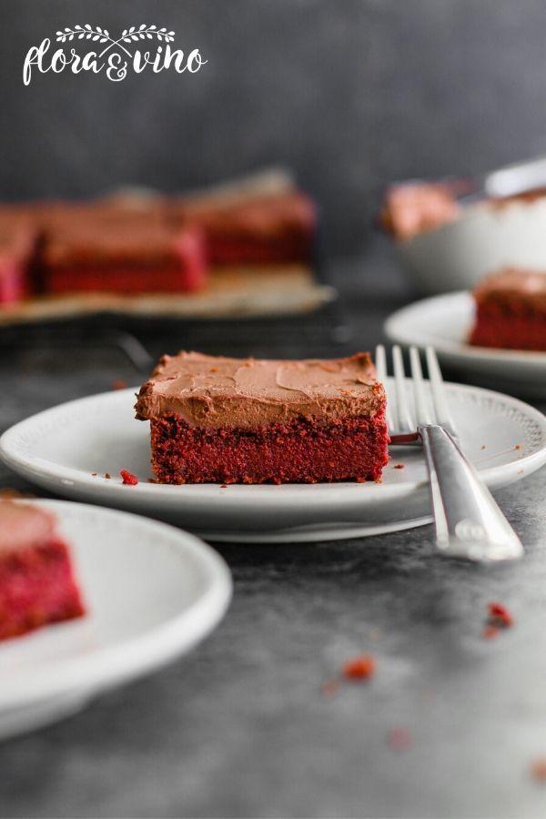 Vegan Gluten Free Red Velvet Cake With 2 Ingredient Chocolate Frosting Flora Vino Recipe In 2020 Gluten Free Red Velvet Cake Red Velvet Cake Vegan Chocolate Bars