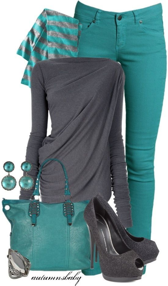 Gray and Teal - Would prolly replace the jeans with grey jersey knit skinnies but I like the overall look.