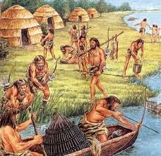 Vissen hoorden bij Economie van de Jagers en Verzamelaars (middelen van bestaan). Hier zie je ongeveer hoe jagers en verzamelaars visten. Dit behoort tot een middel van bestaan.