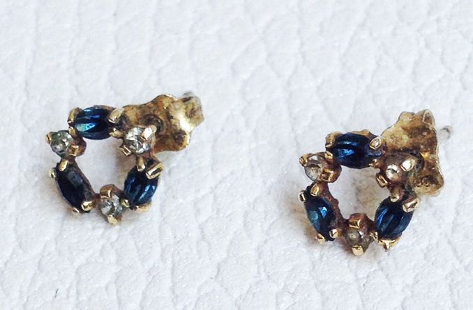 BRIGHT EARRINGS BLUE SAPPHIRES DIAMONDS 1800s  BOURBONIC ORECCHINI ROSETTA