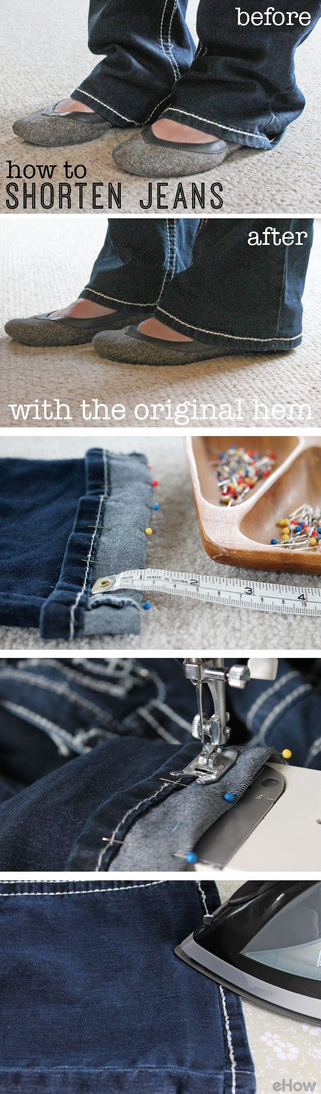 This is how you shorten your jeans  while keeping the original hem! A great trick to reattaching the hem will keep your jeans from looking unfinished: http://www.ehow.com/how_2305591_reattach-original-jeans-hem.html?utm_source=pinterest.com&utm_medium=referral&utm_content=inline&utm_campaign=fanpage                                                                                                                                                                                 More