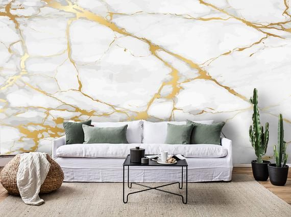 3d Gold White Marble Wallpaper Removable Self Adhesive Etsy Mural Wallpaper Wall Murals Marble Wallpaper