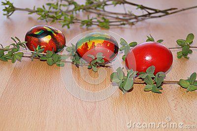 Easter arrangement on wooden background