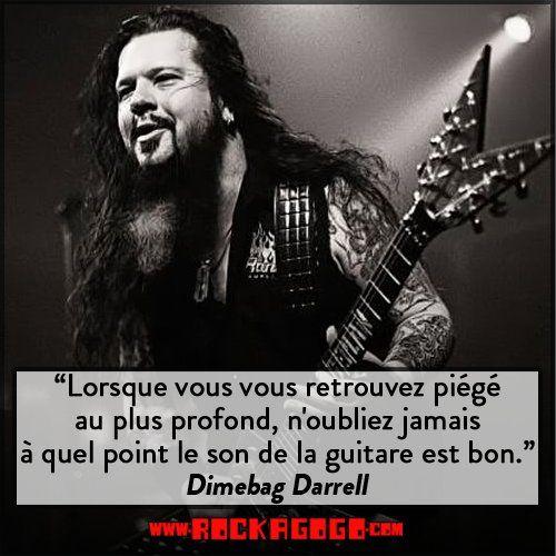 """""""Lorsque vous vous retrouvez piégé au plus profond, n'oubliez jamais à quel point le son de la guitare est bon."""" #Citation de #Dimebag #Darrell #Guitariste de #Pantera #WeAreRock http://www.rockagogo.com/magasin/groupe_pantera?rag=pint"""