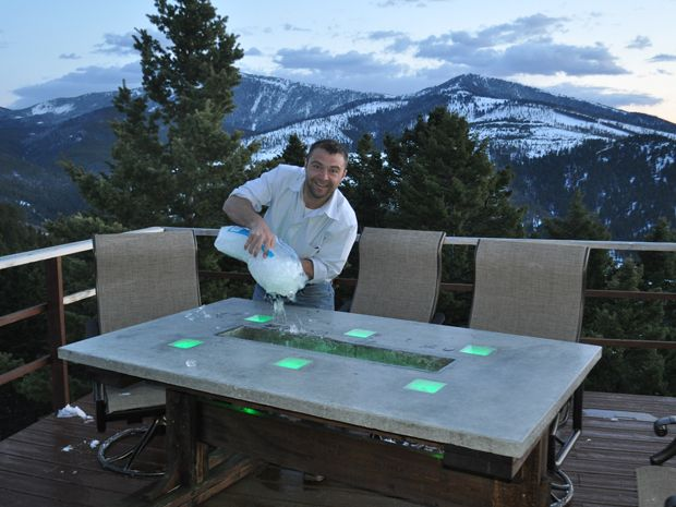 Led concrete patio table with built in beverage cooler Picnic table with cooler plans