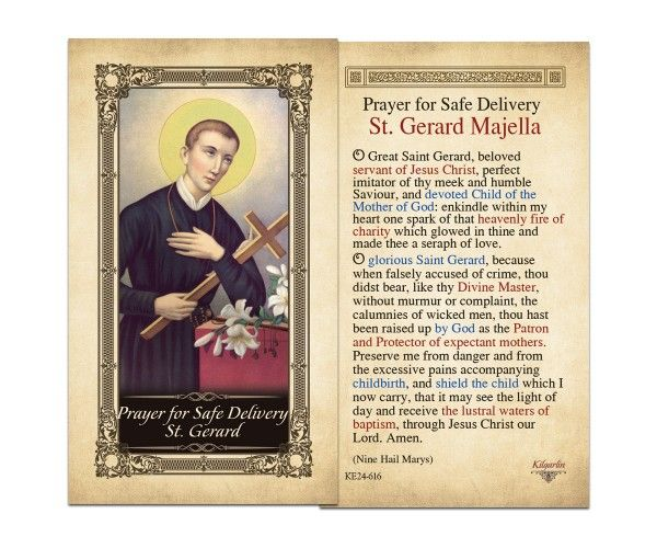 Laminated Holy Cards : Prayer for Safe Delivery St. Gerard Laminated Holy Card