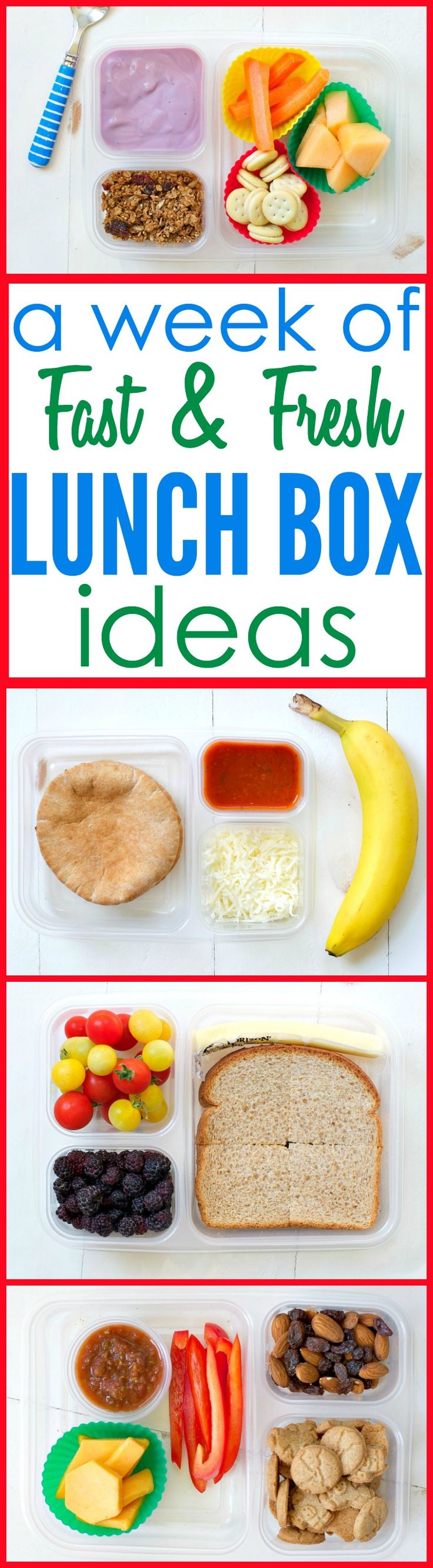 An entire week's worth of Fast and Fresh Lunch Box Ideas to take the guesswork…