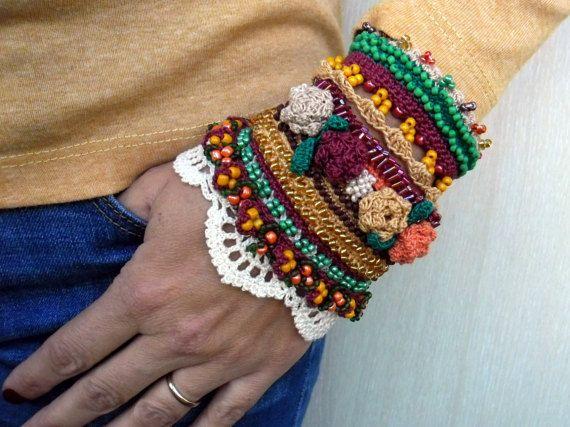 Crochet Cuff Bracelet Beaded Cuff Bracelet by SvetlanaCrochet